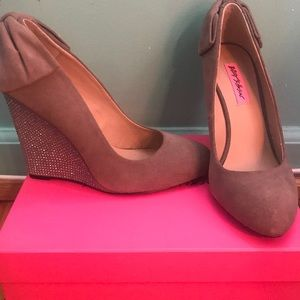 Make An Offer=Chhance Taupe Sued wedged heels